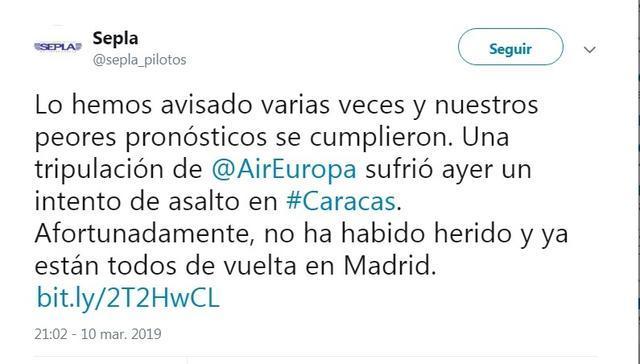 Air Europa Sepla los pilotos se quejan Venezuela