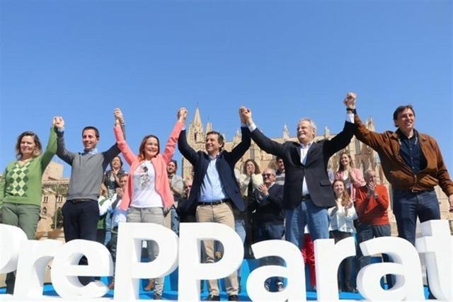 Salom, Galmés, Prohens, Company, Ramis e Isern, durante el acto de este sábado (Foto: PP)