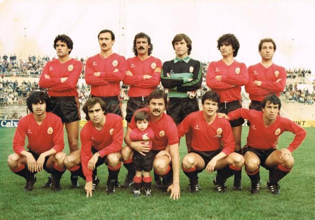 Una formación barralet en el Luis Sitjar en la temporada 81/82 (Foto: Archivo familia Jaume)