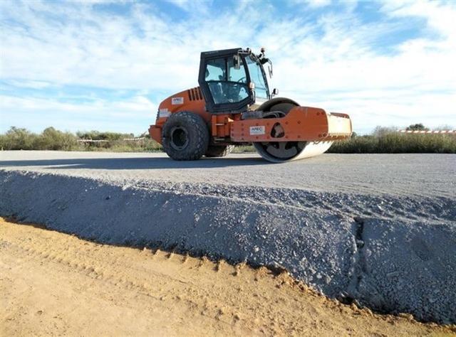 Imagen de las obras en la carretera Llucmajor - Campos (Foto: Plataforma Antiautopistas)