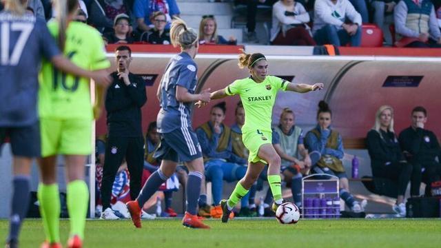 La de Felanitx, durante un lance del choque disputado esta tarde en Alemania (Foto: FC Barcelona femení)