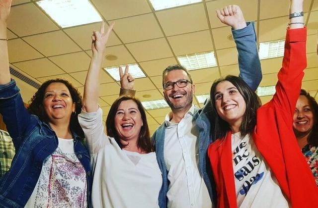 Cladera, Armengol,Hila y Homs celebran el triunfo histórico socialista (Foto: Twitter)