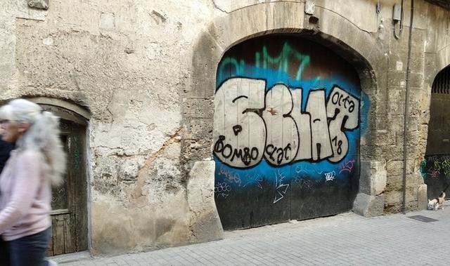Pintada en la calle d´en Morei, en el casco antiguo de Palma (Foto: ARCA)