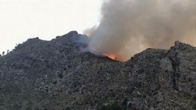 Imagen del fuego declarado en Escorca (Foto: Twitter)