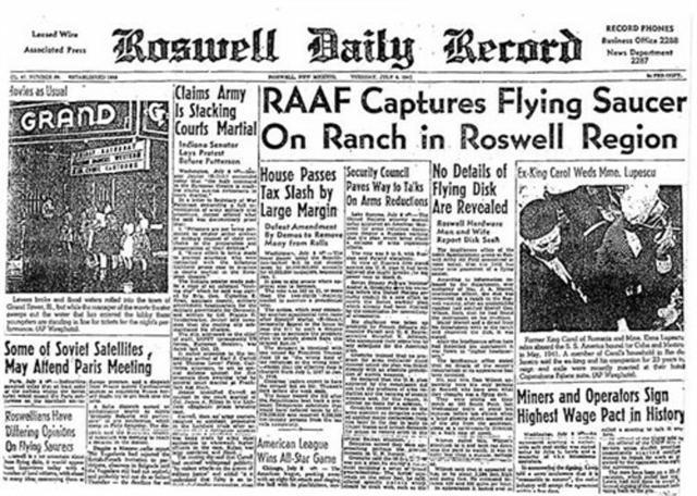 Portada del Roswell Daily Record