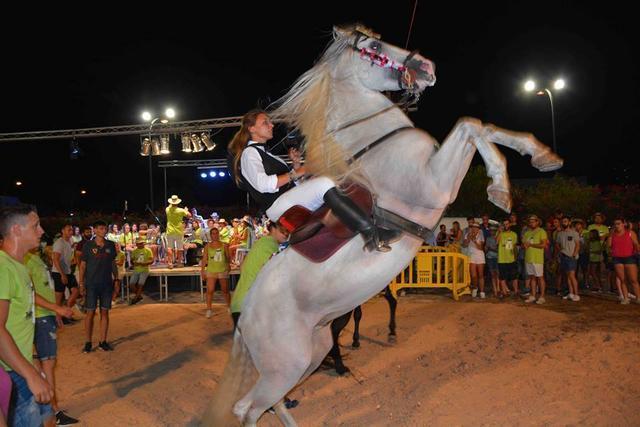 Los caballos son los protagonistas del 'jaleo' en el que que realizan danzas y piruetas.