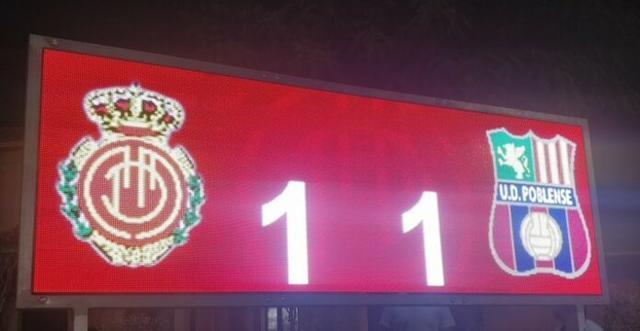 Imagen del marcador con el resultado final (Foto: Twitter UD Poblense)