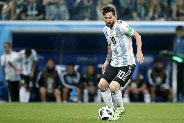 Messi durante un partido con su selección