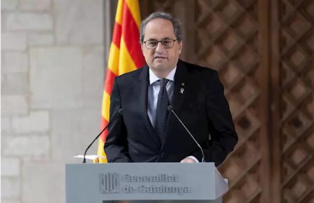 El presidente de la Generalitat, Quim Torra, pronuncia una declaración institucional en el Palau de la Generalitat en Barcelona el 29 de enero de 2020 (Foto: EP)